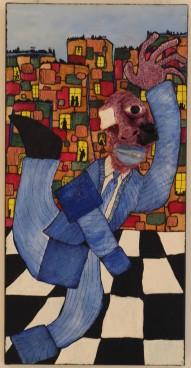 The working man, 40x80 cm, 2019, technique mixte